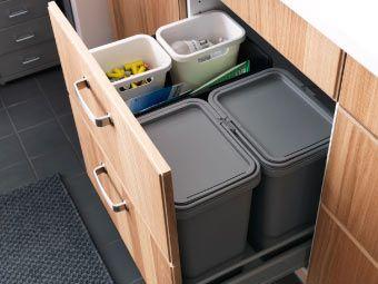 RATIONELL caixotes para reciclagem numa gaveta funda