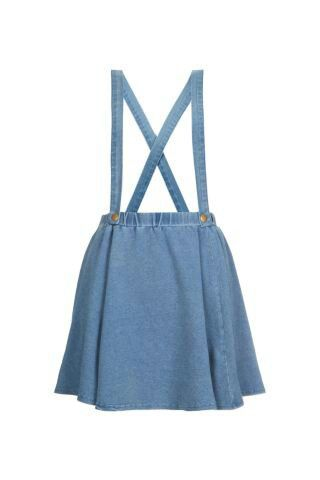 Blue/grey jersey skater skirt with braces -new look