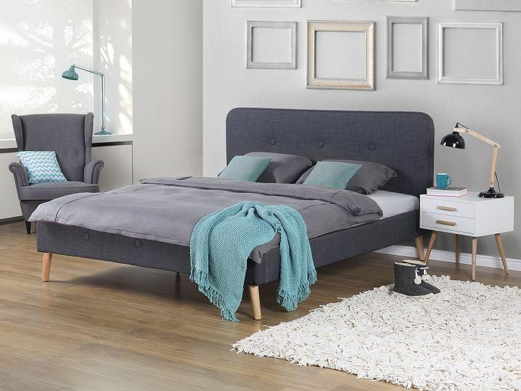 Łóżko szare - 180x200 cm - łóżko tapicerowane - RENNES