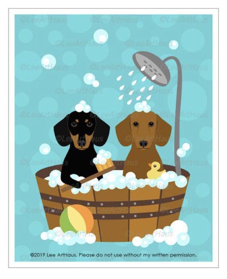 20d Dog Print Dachshund Dogs In Wooden Bathtub Wall Art Etsy Dachshund Print Etsy Wall Art Dog Wall Art