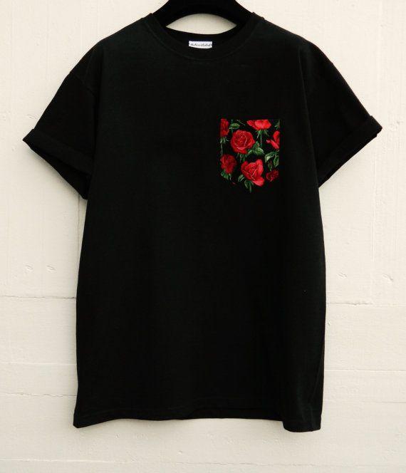 Men's Red Roses On Stem Pattern Black Pocket by HeartLabelTees