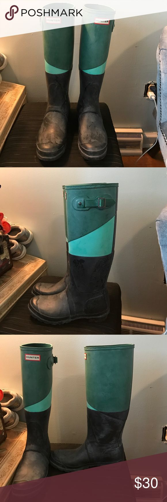 Tall Hunter rain boots Green, blue, and black tall hunter rain boots. Good condition. Only about a year old and worn a few times. Hunter Boots Shoes Winter & Rain Boots