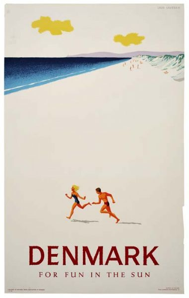 """Denmark for fun in the sun #travel #poster  Although the tag line """"For fun in the sun"""" is completely inaccurate... and so is this image actually...."""