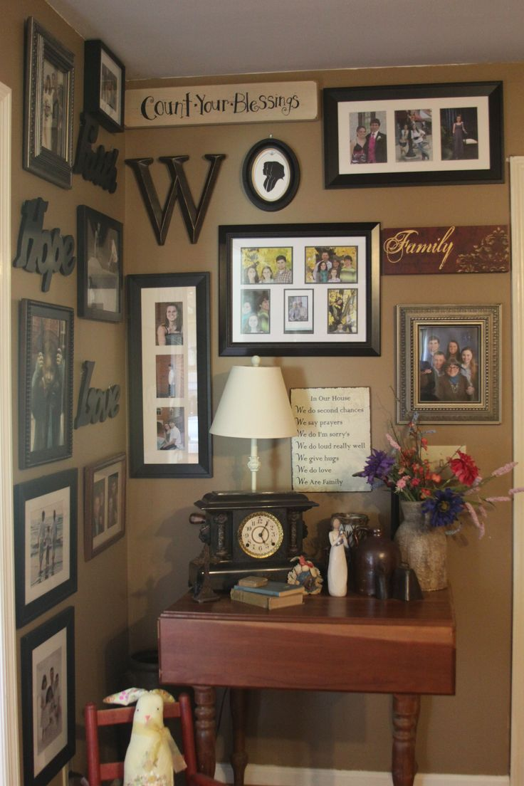 Corner wall decorating/ wall under stairs...I like the group pics with mats/ mix with existing candle holders/ add a wreath????