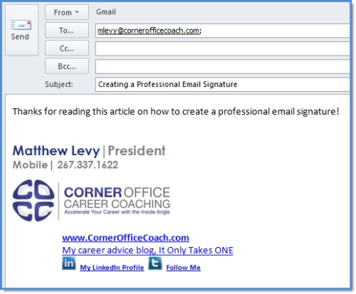 how to create a professional email signature in outlook