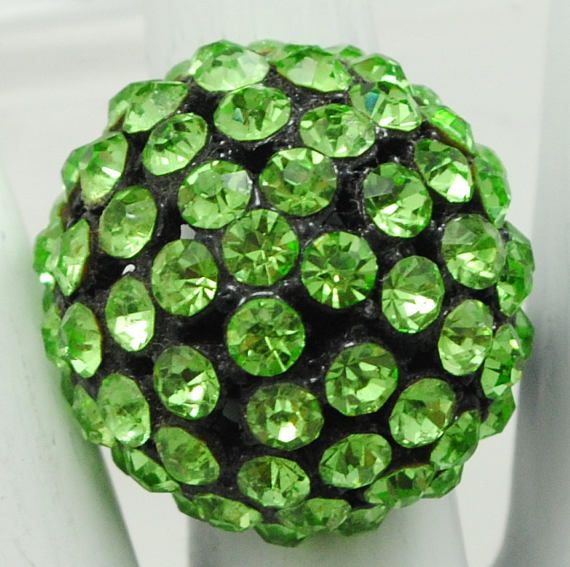 Green Dome Ring/Rhinestone/Statement Ring/Gift For