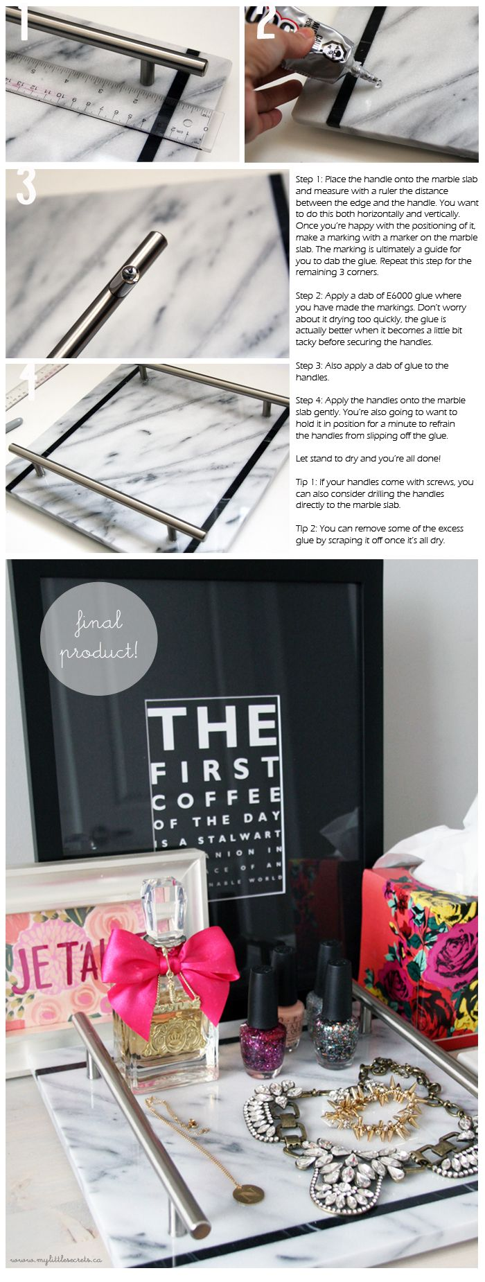 diy marble slab vanity tray made with pastry marble slab and