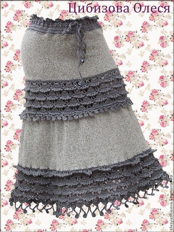 """Купить Вязаная юбка """"Темная орхидея"""" - однотонный, серый, вязаная юбка, юбка крючком"""