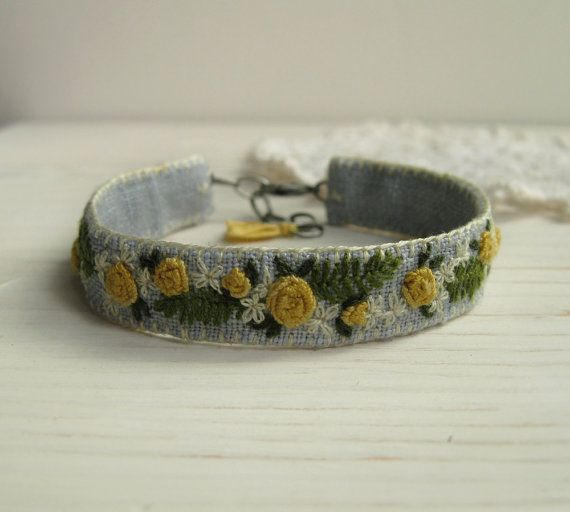 Awesome Etsy listing at https://www.etsy.com/pt/listing/179893858/yellow-roses-hand-embroidered-cuff