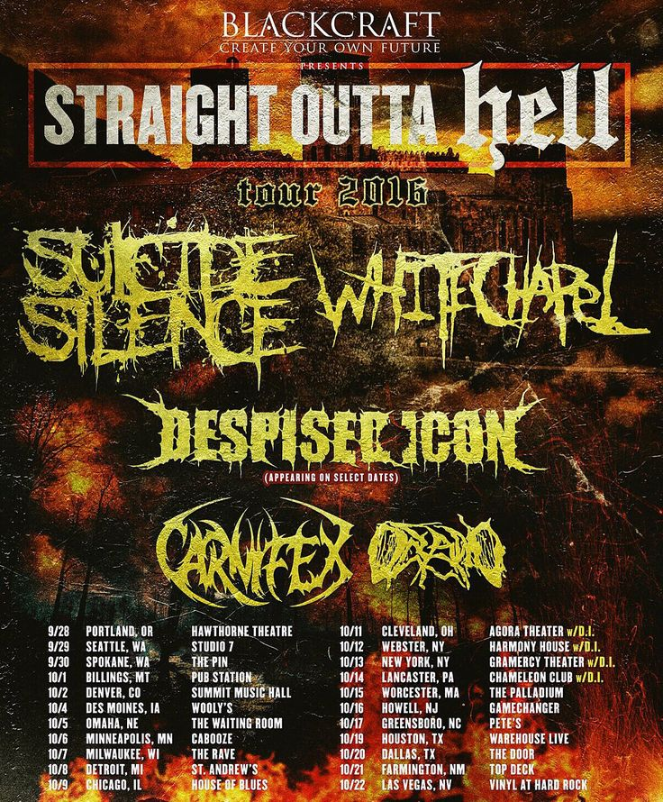 White Chapel announce Straight Outta Hell Tour Dates #whitechapelmetal #WhitechapelBand #StraightOuttaHell
