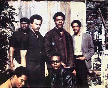 """Original six members of The Black Panther Party. Top left to right: Elbert """"Big Man"""" Howard; Huey P. Newton (Defense Minister), Sherman Forte, Bobby Seale (Chairman). Bottom: Reggie Forte and Little Bobby Hutton (Treasurer), November, 1966."""