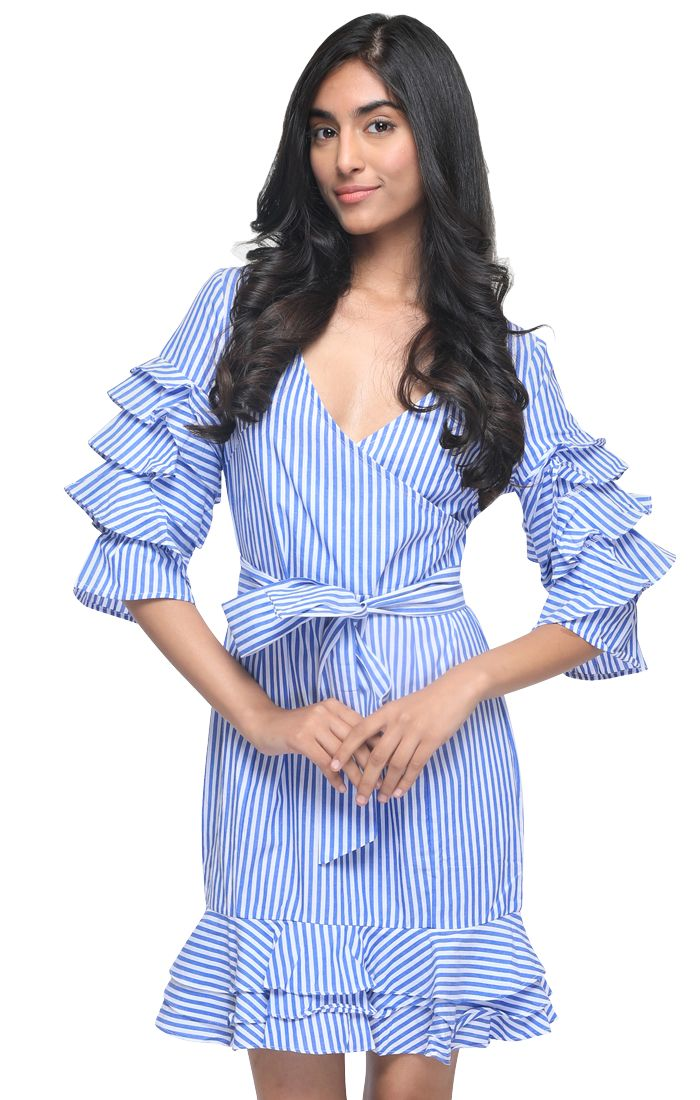 Blue And White Striped Front Belted Ruffle Dress