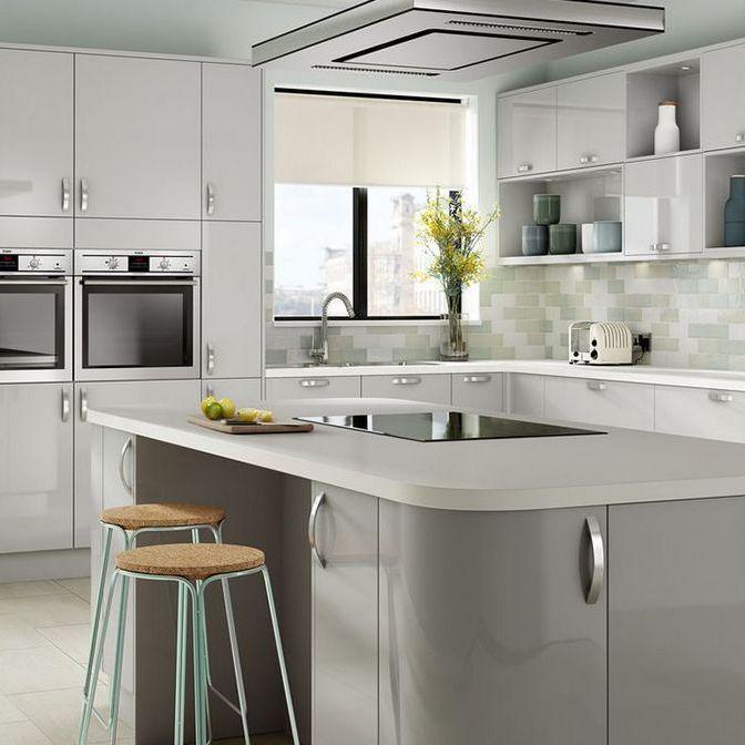 White Gloss Kitchen Grey Worktop Grey Floor Google Search Grey