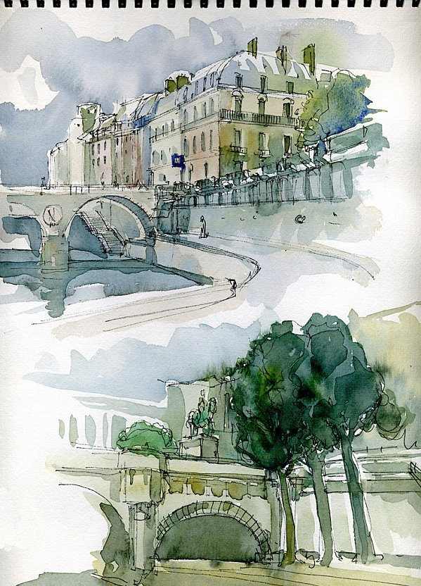 sketch of paris - aquarelle