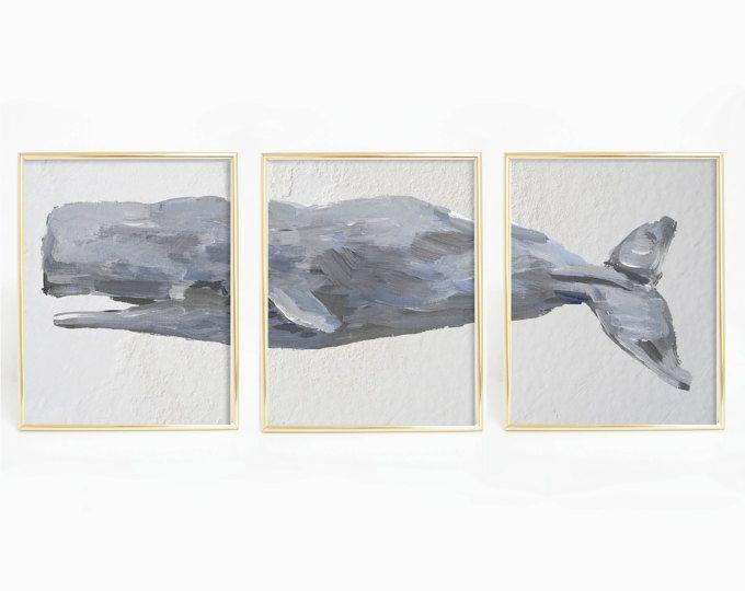 Nautische Decor potvis Print, walvis kunst, walvis Decor, nautische Art Print, walvis Print Set, Set van Prints, walvis drieluik, kust Decor
