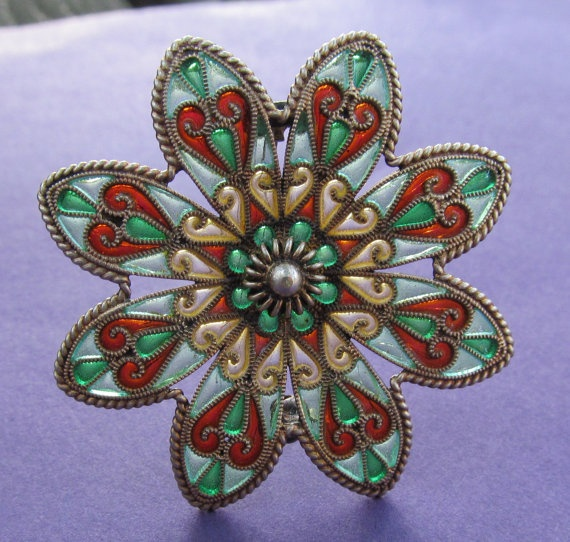 Antique Norway Sterling Enamel Brooch Plique a by SarahAndJohns, $175.00