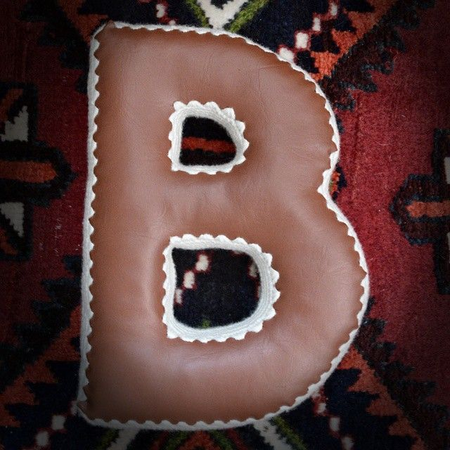 letter B pillow #keepsake #nursery #babygifts #etsy #letterart #vegan #leather #knit #crochet #kids #kidsroom