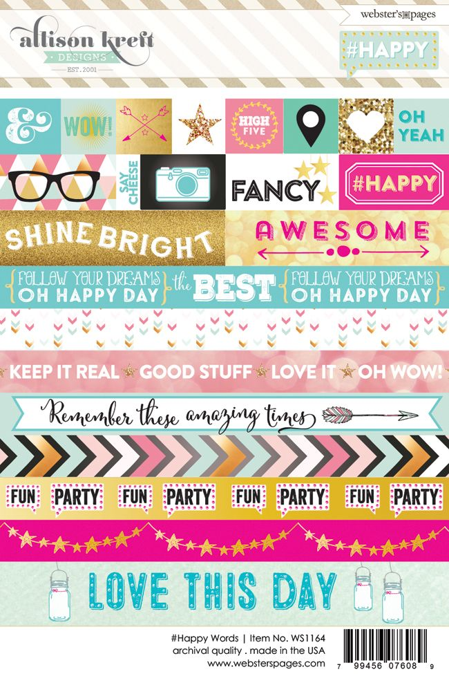 Websters Pages - Happy Collection - Cardstock Stickers - Word at Scrapbook.com