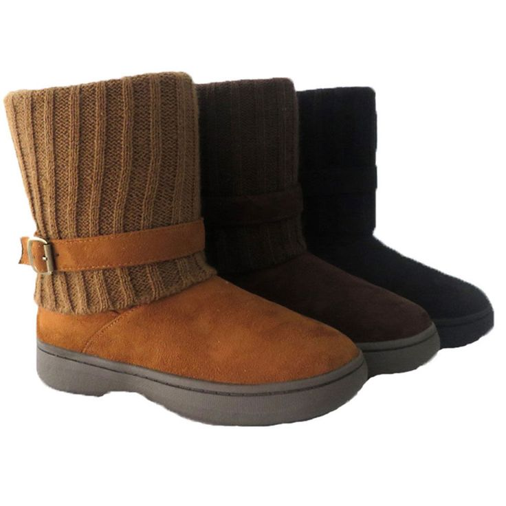 Bamboo Tahoe-08 Women'S Buckle Strap Cold Weather Winter Knitting Snow Boots