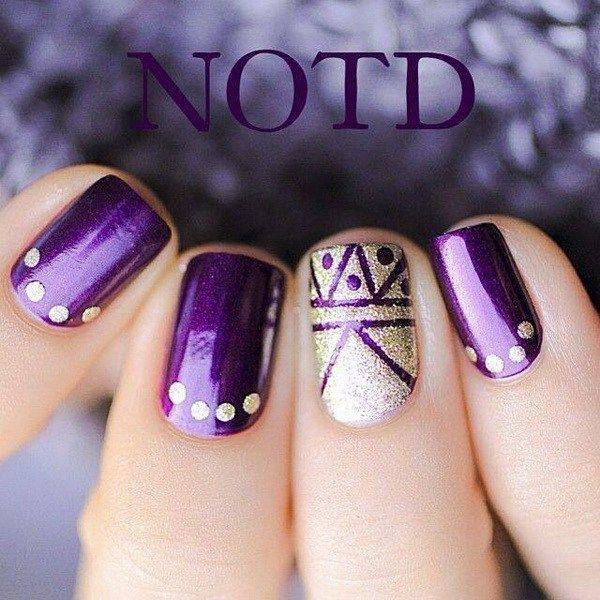 Purple and Glitter Tribal Nails.