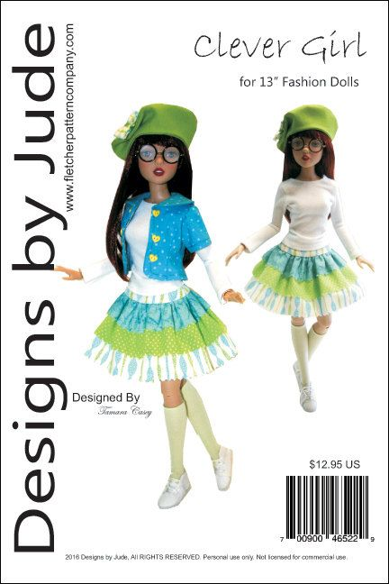 Clever Girl Pattern for 13 Fashion Dolls Agatha by designsbyjude