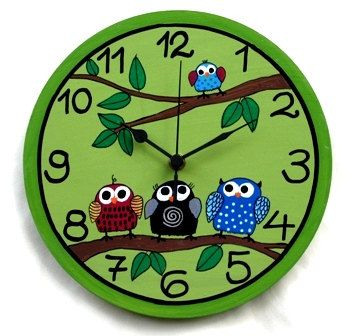 Hey, I found this really awesome Etsy listing at http://www.etsy.com/listing/93185309/green-wall-clock-with-owls-painting