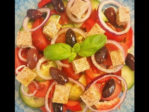 Gör egen feta ost+ grekisk sallad, raw och veganskt recept - YouTube