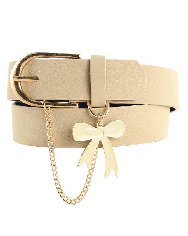 Chain and Bow Leather Belt in Cream - Karen Walker - Shop by Designer