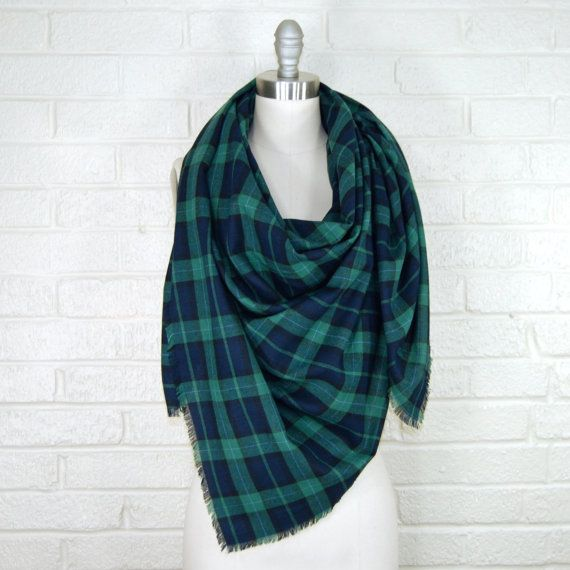 PLAID FLANNEL BLANKET SCARF << • Navy blue and hunter green plaid • Made from 100% soft cotton flannel • Beautifully hand fringed edges • Scarf
