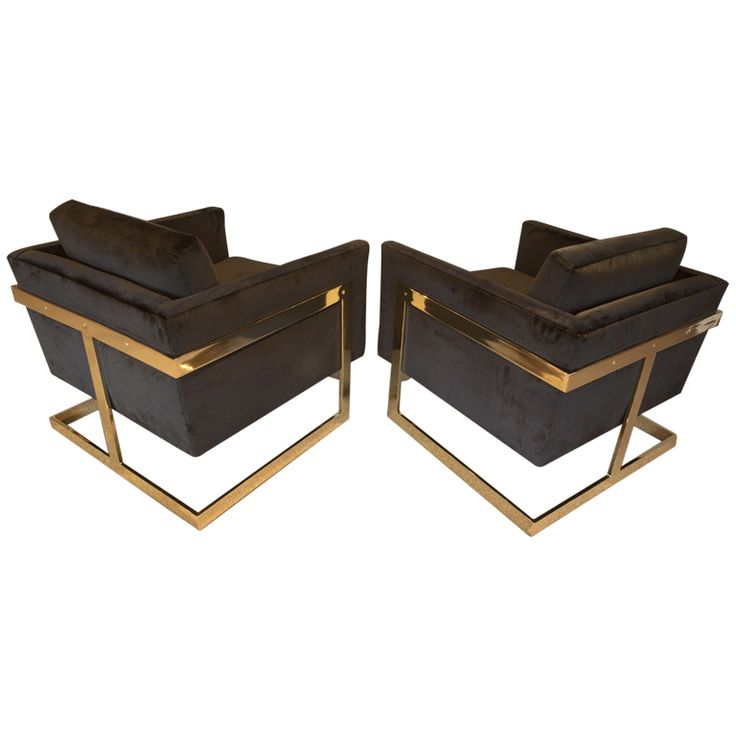 Brass And Velvet 'Cube' Chairs By Milo Baughman For Thayer Coggin