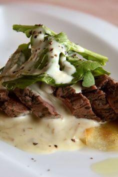 Grilled Flank Steak with Gorgonzola Cream Sauce [ MyGourmetCafe.com ] #dinner #recipes #gourmet