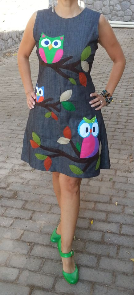 owl appliqued dress. Jean dress. Denim. Inspired from Dolce Gabbana. Diy. Sewing.