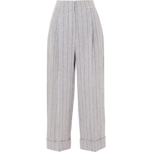 Brunello Cucinelli Pinstriped linen pants (3,515 PEN) ❤ liked on Polyvore featuring pants, grey, grey pinstripe pants, wide leg pants, grey linen pants, linen trousers and wide-leg trousers