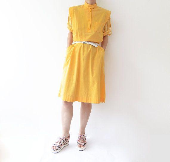 Vintage anni ' 80 giallo cotone midi abito con di ZvezdanaVintage