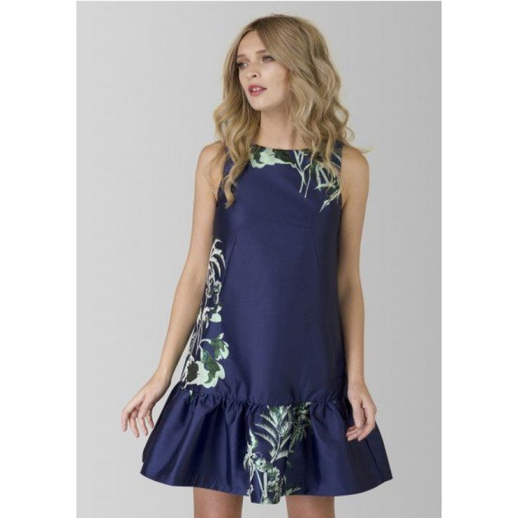 Navy Palm Print Ruffle Dress