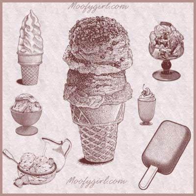 Tasty Ice Cream Photoshop Brushes Brush Set by moofygirl on Etsy, $2.99