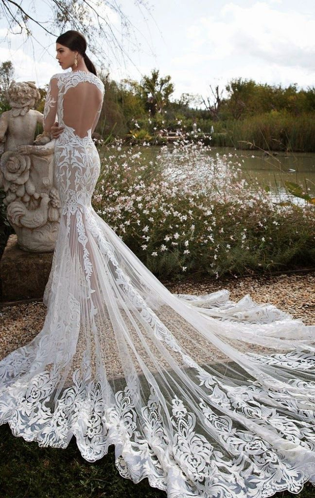 Berta 2015 Open Back Mermaid Lace Wedding Gown. This would be a stunning beach wedding dress
