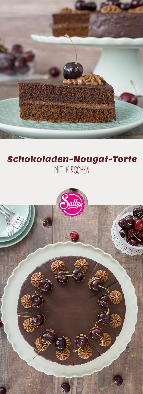 Zarter Schokoladenteig mit Kirschgelee und Nougat, überzogen mit Zartbitterschokolade und dekoriert mit Kirschen.