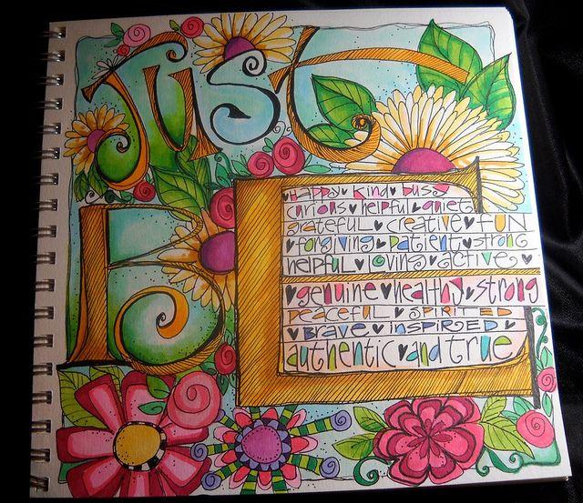 affirmations ~ artist Joanne Sharpe  #journal #colorful: Journaling Doodling Art, Art Journalists, Copic, Art Journalling, Art Journals, Quote, Art Journalicious, Art Journaling Mixed, Just Be