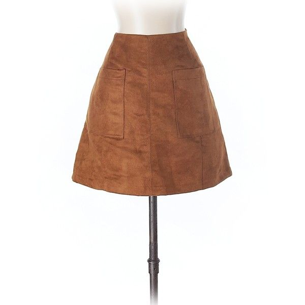Old Navy Casual Skirt ($12) ❤ liked on Polyvore featuring skirts, tan, old navy skirts, old navy, brown skirt and tan skirt