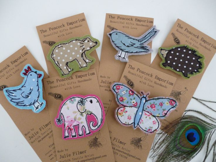 Appliqued brooches - raw edge applique free motion embroidery butterfly flower hen bear bird elephant hedgehog pin badge by Julie Filmer from The Peacock Emporium