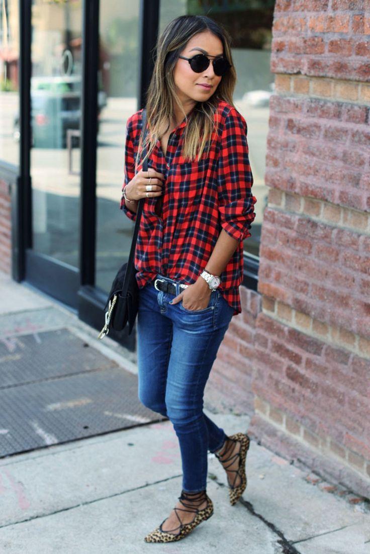 Karohemd+lässig+gestylt+mit+Skinny+Jeans