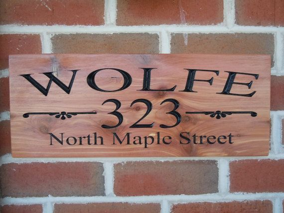 Address Sign Personalized Wooden Carved Last Name Street Custom Made House Number Engraved Plaque Housewarming Gift Red Cedar St27