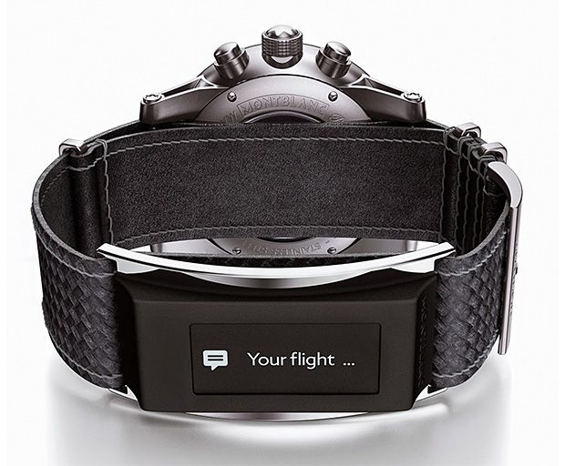 Montblanc TimeWalker Urban Speed e-Strap. Rather than pollute their legacy with a goofy iWatch-esque entry into the smartwatch market, Montblanc developed the e-Strap, a smartwatch strap that can be attached to different watches. It's an Italian-made piece of leather texturized to look like carbon fiber connected to a tiny OLED touchscreen that sits on the inside of the wearer's wrist providing a variety of functions & notifications. Available in June 2015.