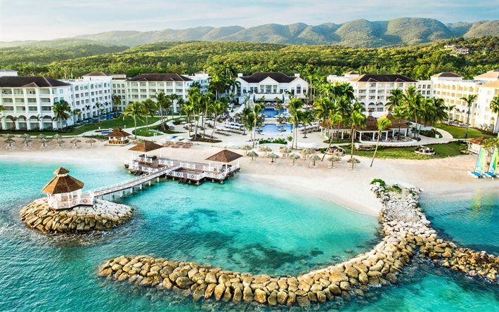 Download wallpapers Montego Bay, Jamaica, Caribbean Sea, coast, 4k, St James, resort, beach, palm, sea
