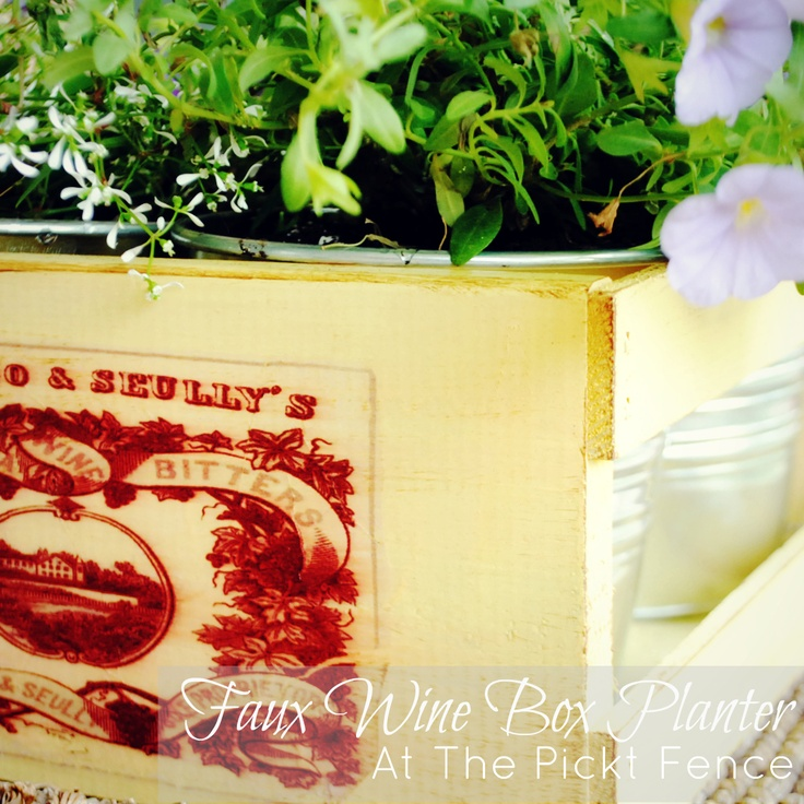 Faux Wine Box Planter from At The Picket Fence: Image Transfers, Picket Fence, Craft Tutorials, Craft Projects, Wine Boxes, Craft Inspirations, Craft Ideas, Transfer Tutorial