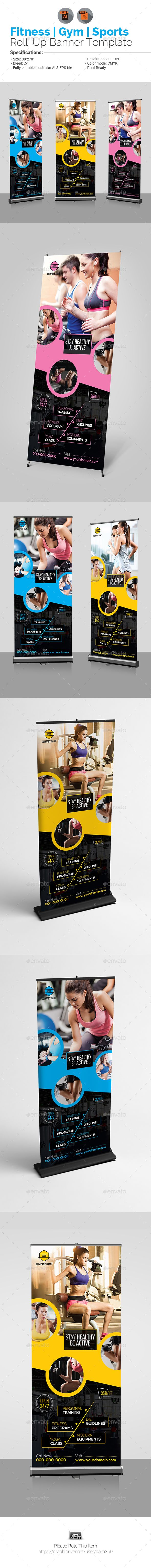 Fitness Roll Up Banner by aam360 Similar Templates:INFORMATIONS FOR THIS ROLL UP...