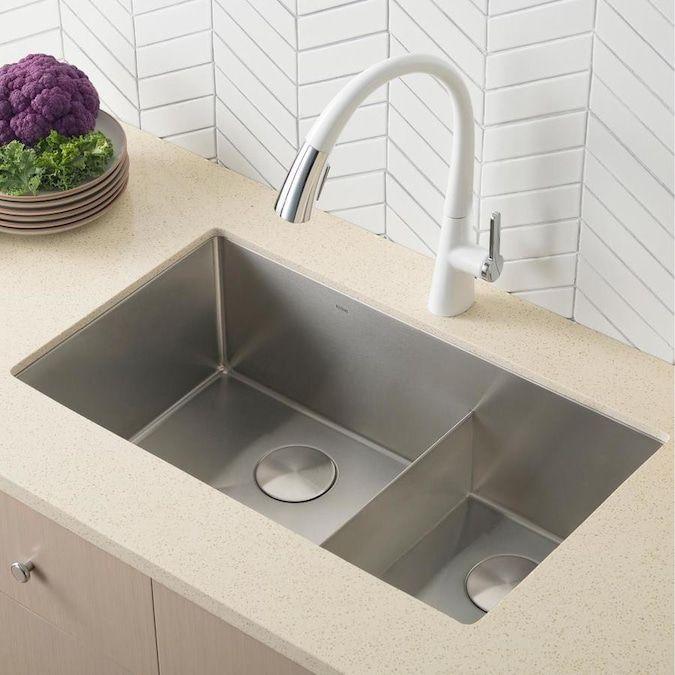 Kraus Standart Pro Undermount 32 In X 19 In Double Offset Bowl Kitchen Sink Lowes Com Deep Sink Kitchen Corner Sink Kitchen Undermount Kitchen Sinks