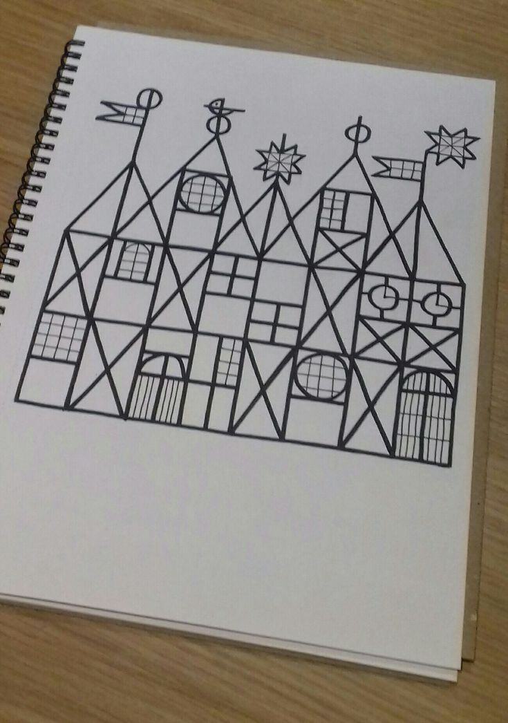 Christmas village drawing