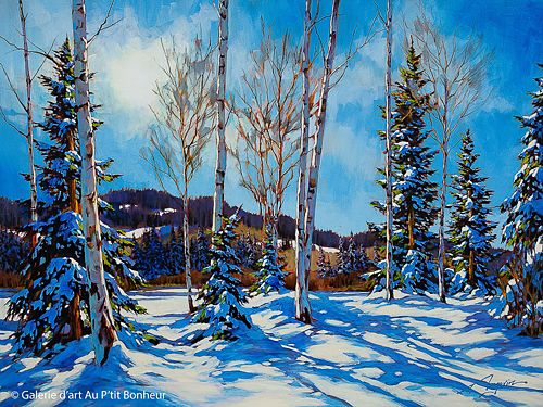 David Langevin, 'Still Winter', 36'' x 48''   Galerie d'art - Au P'tit Bonheur - Art Gallery